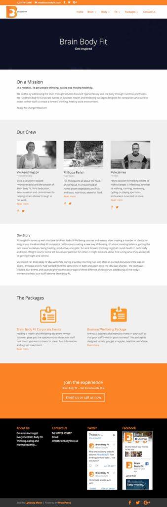 health and fitness website design in WordPress, using Divi