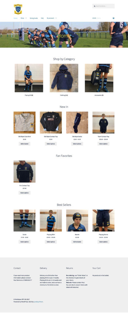 wordpress for rugby club kit