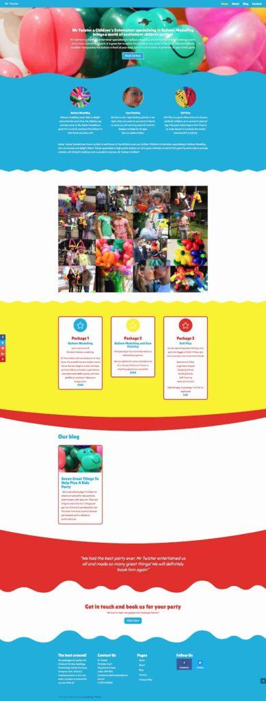 childrens entertainer website design